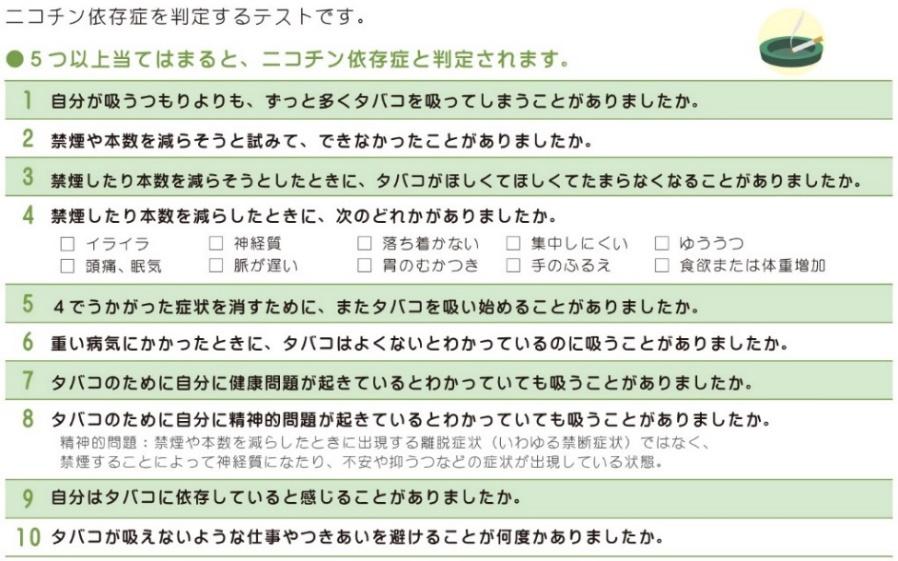 TDSテスト(Tobacco Dependence Screener )